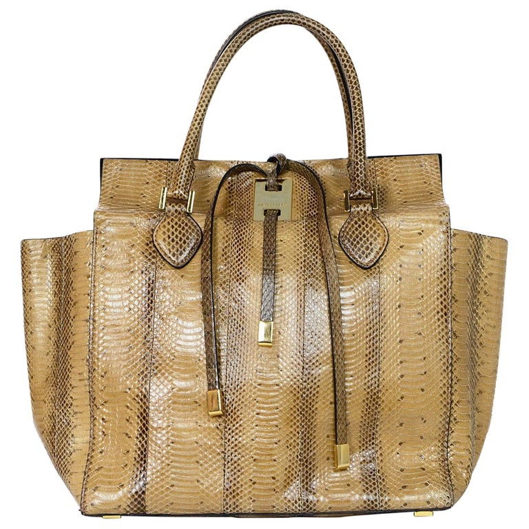 f97b30774597 Michael Kors Collection Tan Python Miranda Tie Tote Bag For Sale at ...
