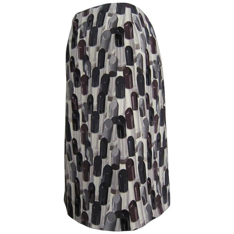 Prada Lipstick Print Skirt Black Grey SS2000 For Sale