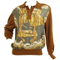 "1987 Hermes ""Bride De Cour""  Tassel Silk Scarf Cashmere Sweater"