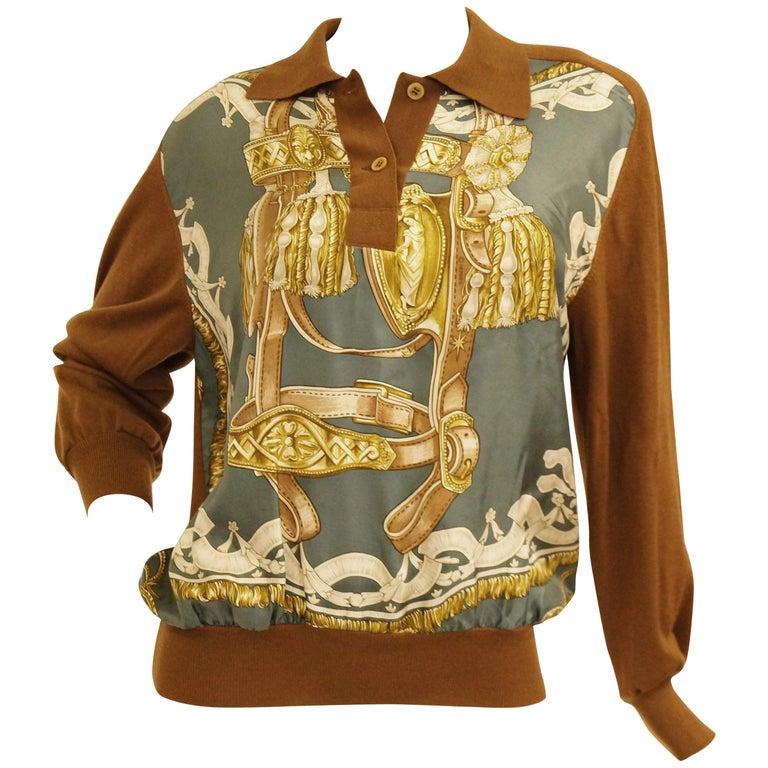 "1987 Hermes ""Bride De Cour""  Tassel Silk Scarf Cashmere Sweater  For Sale"