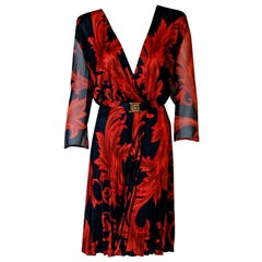 1994 Gianni Versace Couture Red Black Baroque-Print Silk Pleated Dress w/Tags