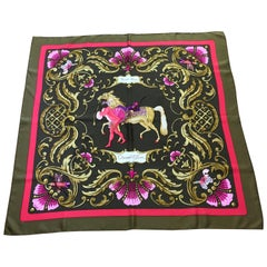 "Hermes Cheval Turc 1969 Silk Scarf Designed by Christiane Vauzelle 35"" Square"