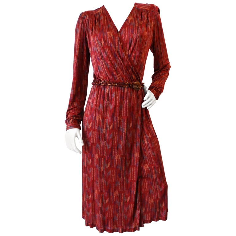 1970s Missoni Silk Wrap Dress with Rope Belt For Sale