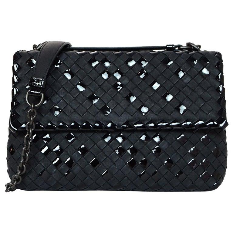 Bottega Veneta Black Matte/Patent Woven Leather Small Olimpia Flap Bag rt $2,790