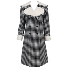 1965 Geoffrey Beene Black & Creme Checkered Wool Double-Breasted Mod Coat