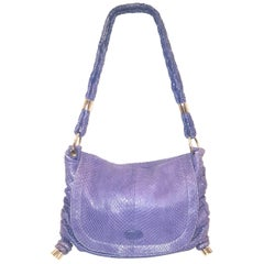 Tod's Softy Sacca Media Purple Python Gathered Double Strap Flap Bag