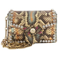Gucci Broadway Bee Shoulder Bag Embellished Python Mini