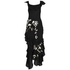 Vintage John Galliano Chiffon & Floral Embroidered Dress