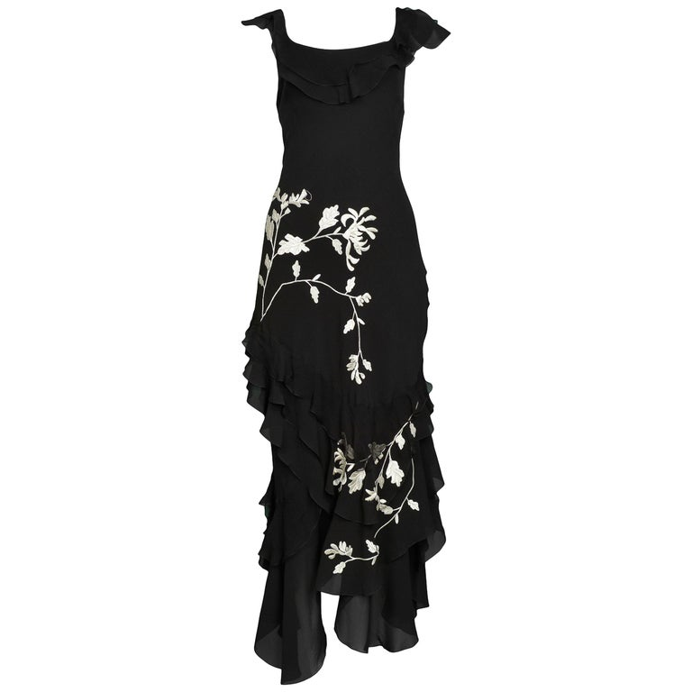 Vintage John Galliano Chiffon & Floral Embroidered Dress For Sale
