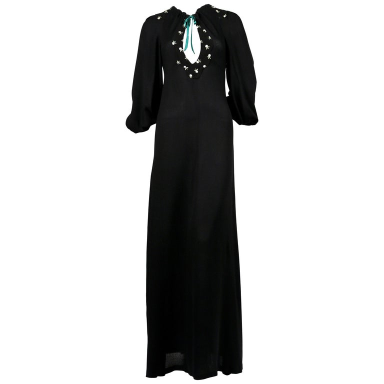 1970's OSSIE CLARK black moss crepe dress with keyhole neck and embroidery For Sale