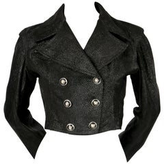 1991 AZZEDINE ALAIA cropped jacket in black textured leather