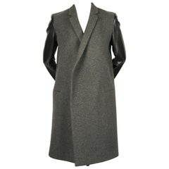 Celine by Phoebe Philo charcoal grey black leather sleeve crombie coat