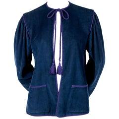 1970's YVES SAINT LAURENT blue corduroy peasant jacket