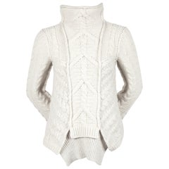 Celine By Phoebe Philo wool cable knit sweater with asymmetric hem