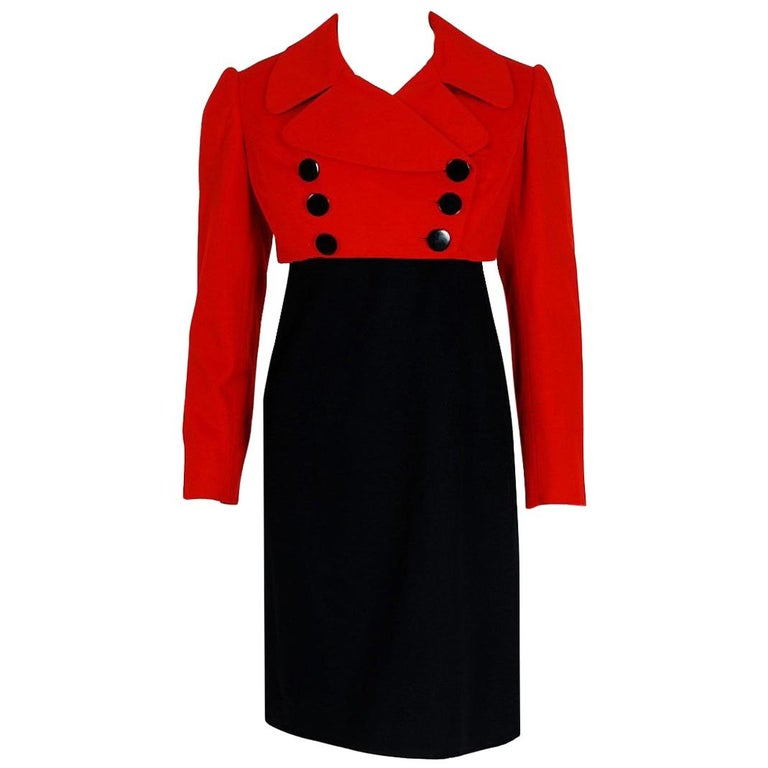 1957 Traina-Norell Red Black Wool Cropped Double-Breasted Jacket & Dress Suit For Sale