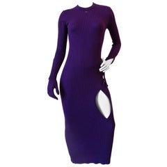 2000s Courreges Paris Ribbed Knit Glove Dress