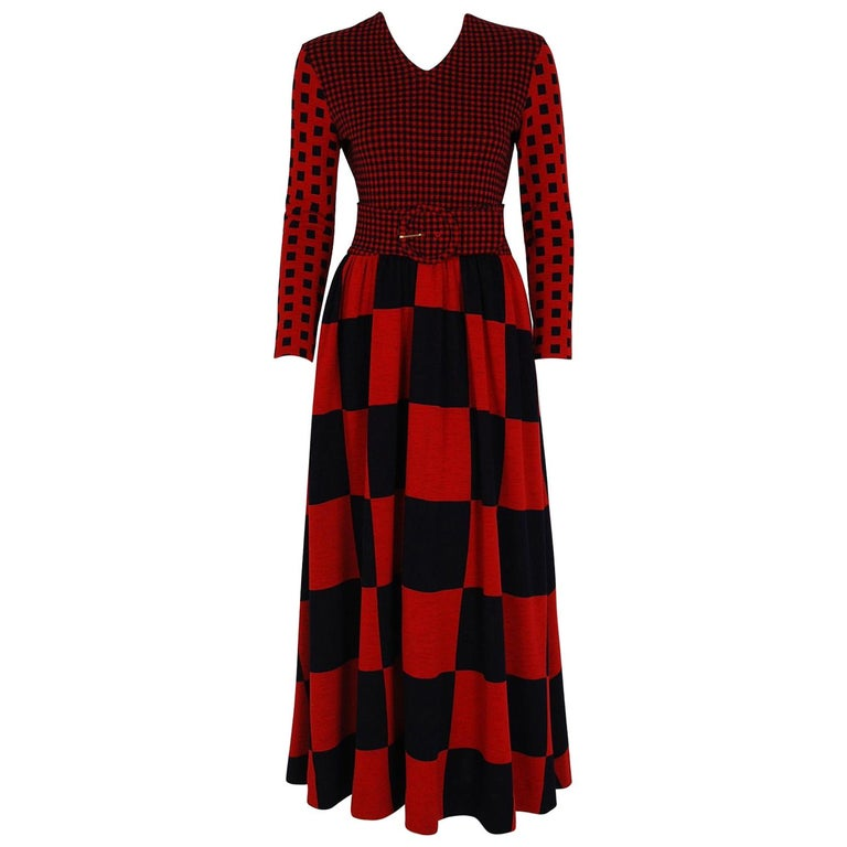 1971 Rudi Gernreich Documented Red Black Op-Art Wool Knit Belted Maxi Dress