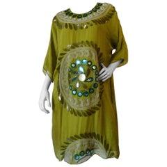 2000s Chloe Silk Suzani Motif Dress