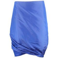 PAUW Size S Royal Blue Asymmetrical Bubble Hem Silk Skirt