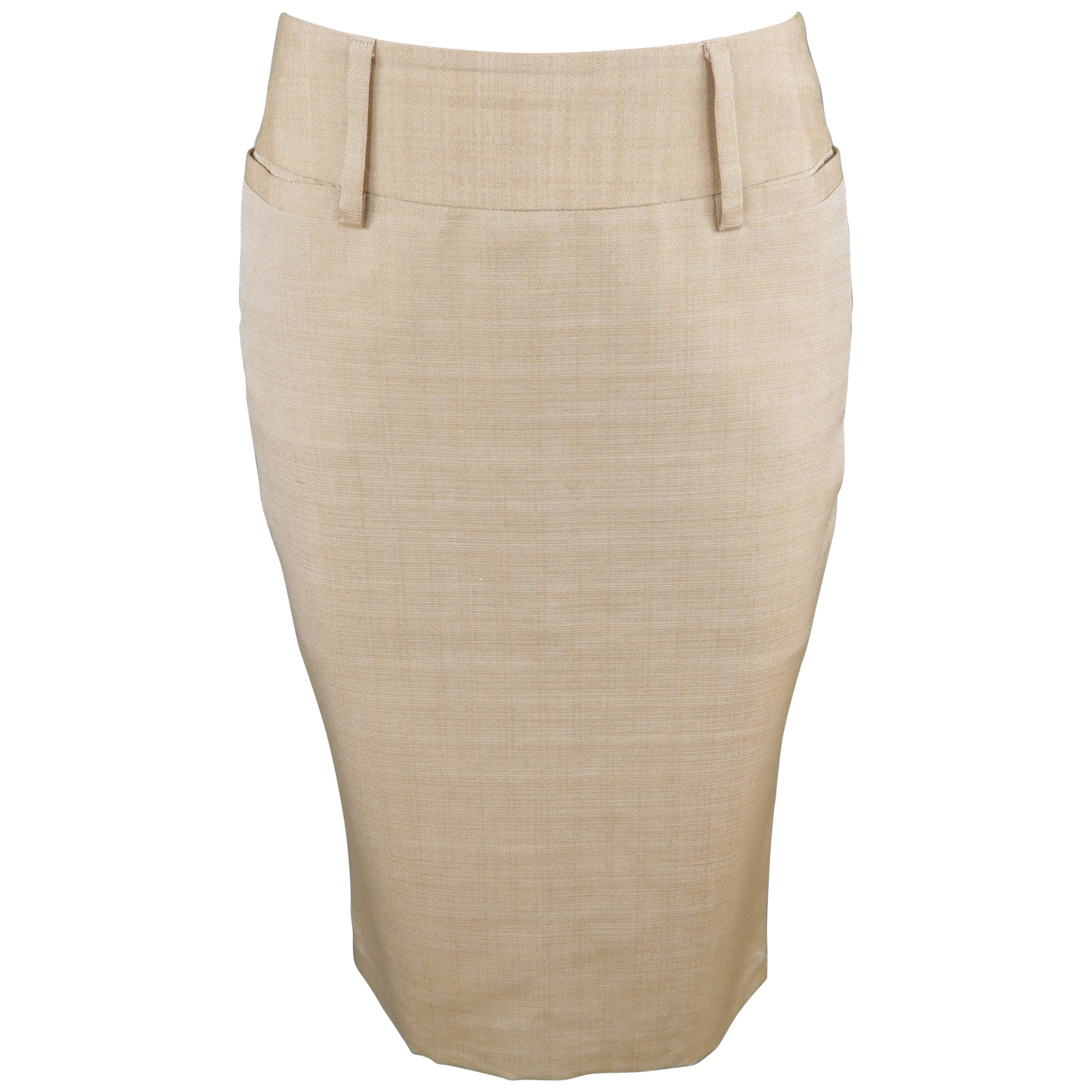 8d24d69606 DOLCE and GABBANA Size 2 Beige Silk Pencil Skirt For Sale at 1stdibs