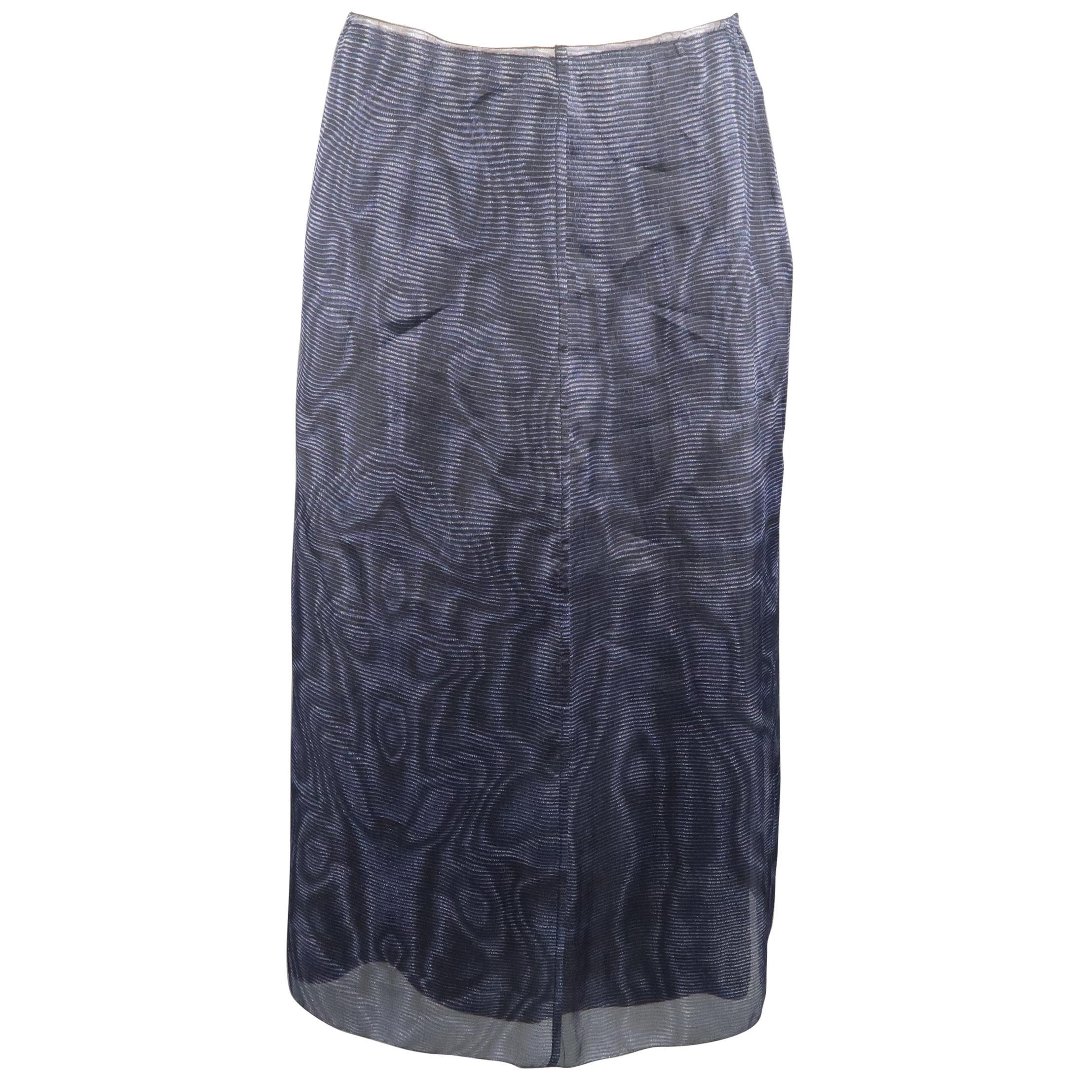 PRADA Size 6 Blue Silk Moare Pencil Skirt