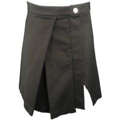 VERSUS by GIANNI VERSACE Size 6 Black Cotton Asymmetrical Skirt