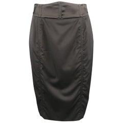 STELLA McCARTNEY Size 6 Black Wool Double Zipper Pencil Skirt