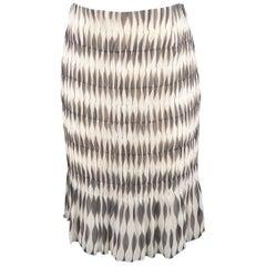 AKRIS Size 8 Black & White Geometric Print Silk Skirt