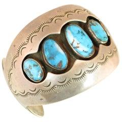 Native American Zuni Turquoise & Sterling Cuff Bracelet, Mabel Watson 1970s