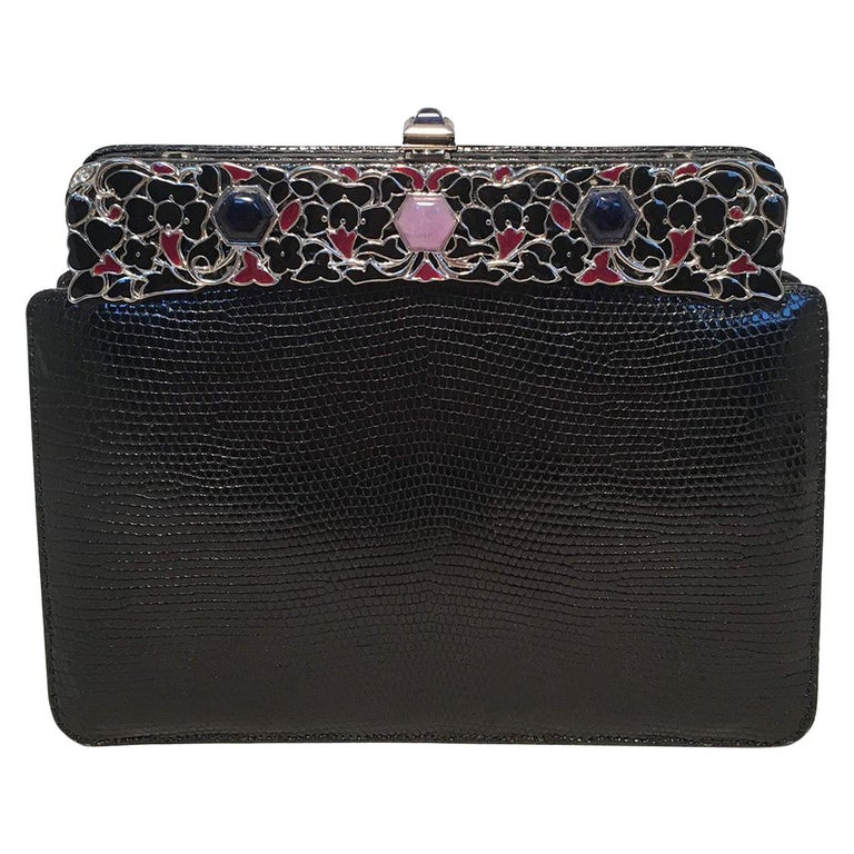 Judith Leiber Black Lizard Floral Enamel Top Clutch