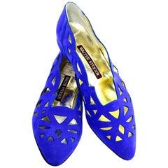 1980s Vintage Walter Steiger Blue Suede Shoes Size 8B
