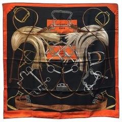 Hermes Projets Carres Silk Scarf in Orange