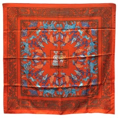 Hermes Early America Orange Silk Scarf