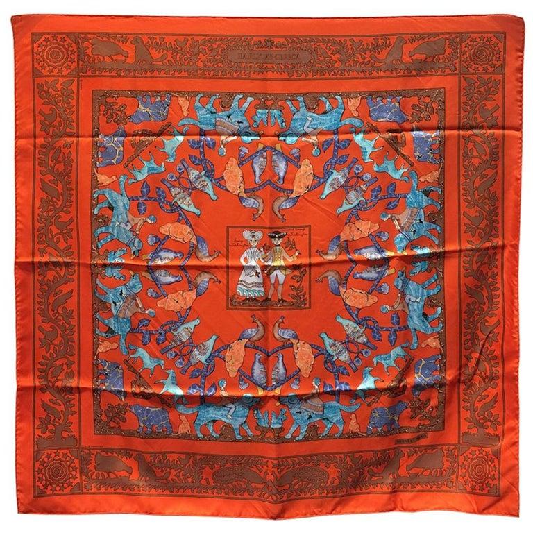 Hermes Early America Orange Silk Scarf For Sale