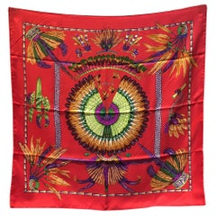 Hermes Vintage Brazil Silk Scarf in Red