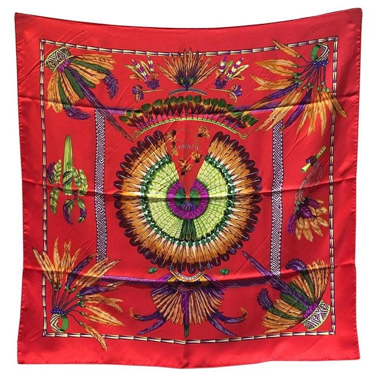 Hermes Vintage Brazil Silk Scarf in Red