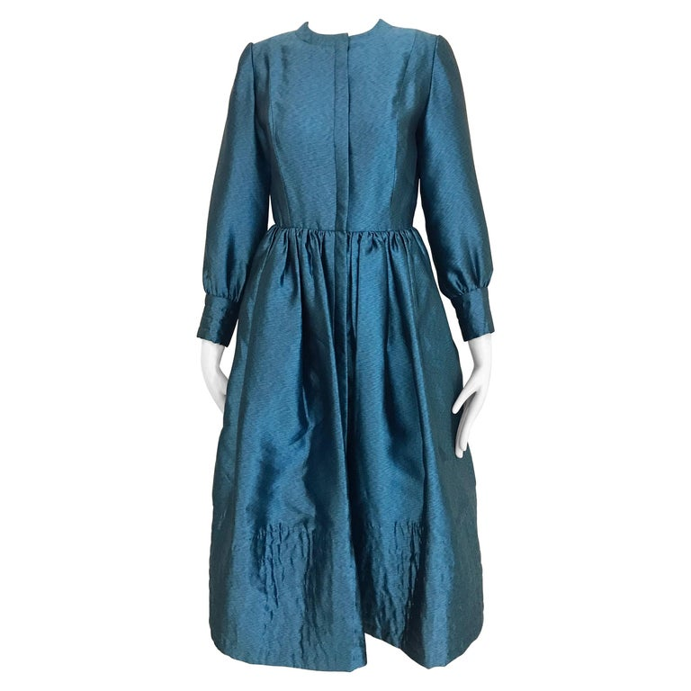 Vintage Geoffrey Beene Teal Blue Silk Dress  For Sale