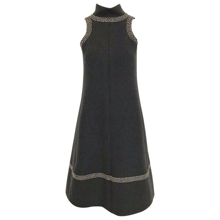 1960s Geoffrey Beene Grey Wool Shift Dress For Sale
