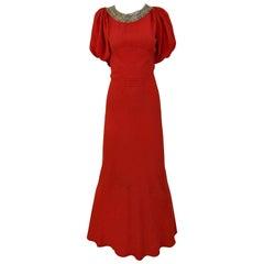 1930s Red Orange  Crepe Dress