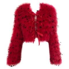 80s Red Ostrich Feather Crop Jacket