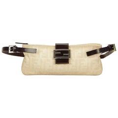 Fendi Brown x White Zucca Jacquard Crossbody Bag