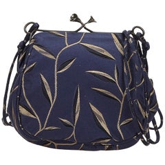 Prada Blue Printed Chemical Fiber Crossbody Bag