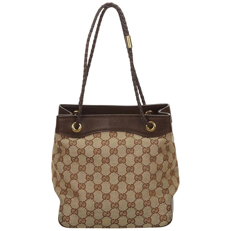 54ff94a24c2375 Gucci Brown Guccissima Jacquard Tote Bag at 1stdibs