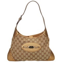 Gucci Brown x Beige x Gold Guccissima Jacquard Punch Hobo