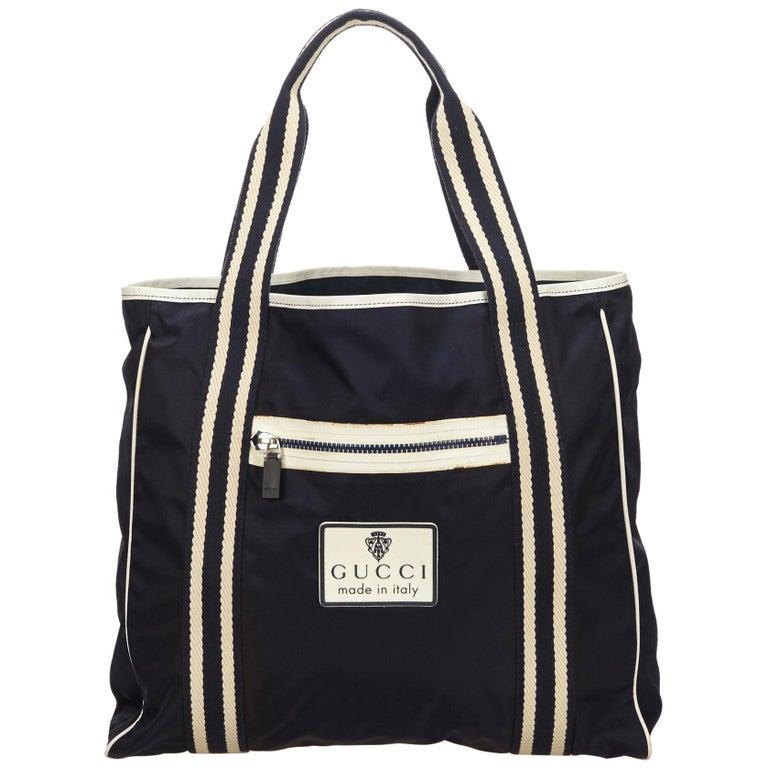 Gucci Navy X White Nylon Tote Bag For