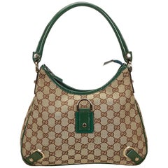 Gucci Brown x Green Guccissima Jacquard Abbey Hobo Bag