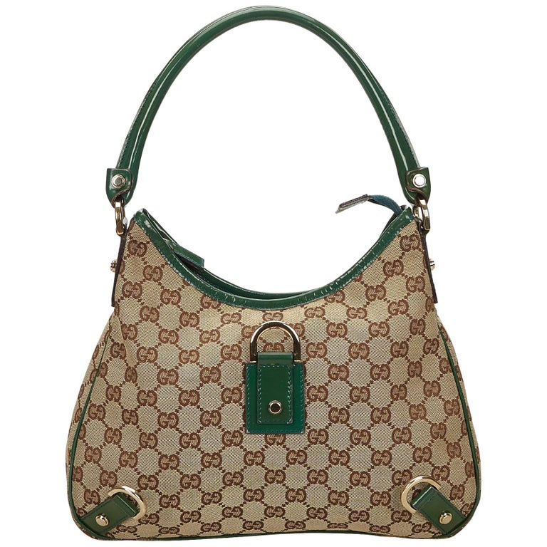 5333ced4817 Gucci Brown X Green Guccissima Jacquard Abbey Hobo Bag At 1stdibs. Gucci Gg  Canvas Leather Fringe ...