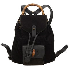 Gucci Black Bamboo Suede Drawstring Backpack