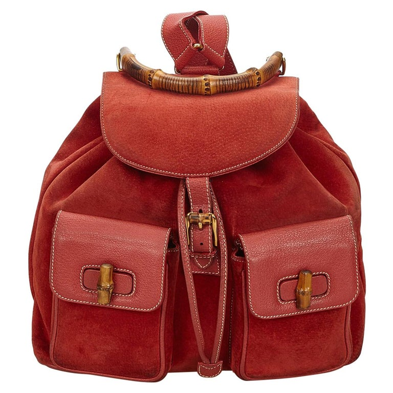 Gucci Red Bamboo Suede Drawstring Backpack