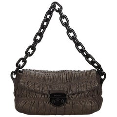 Prada Brown Gathered Leather Chain Shoulder Bag